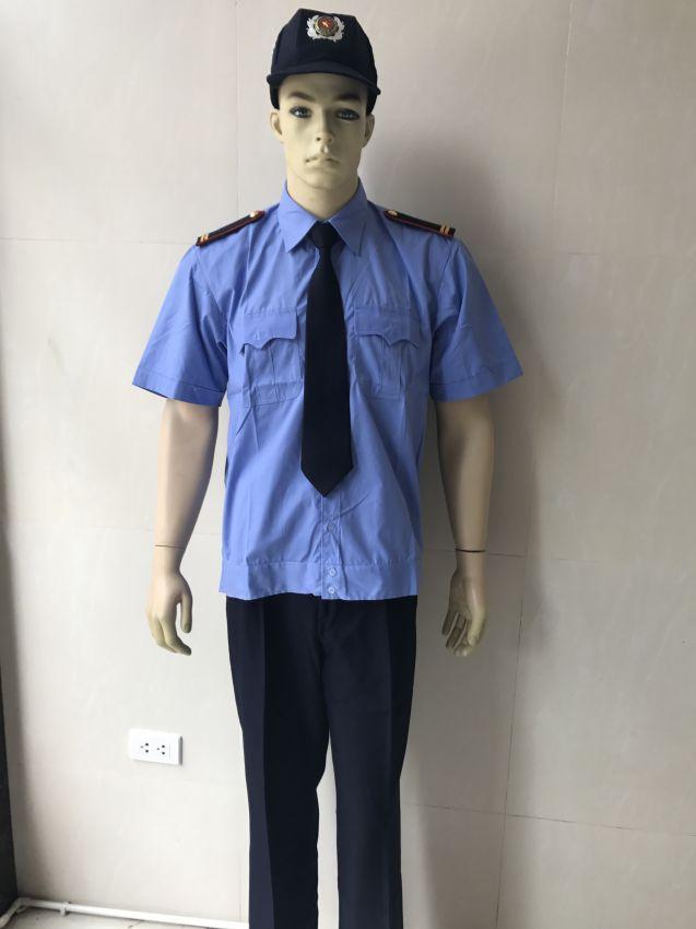 Đồng phục bảo vệ thông tư 08: áo xanh dương, quần tím than